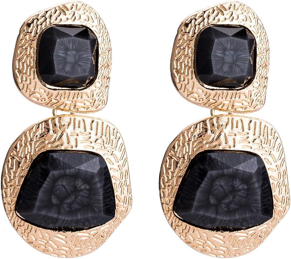 An baby123 Pendientes de Piedras Preciosas Artificiales de Europa y América Pendientes de Oro exagerados Pendientes de otoño Retro Estilo Boho con Joyas de Estilo INS for Mujeres (Color : Black)