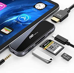 USB C Hub for iPad Pro - 7 in 1 Portable 2.5D Tempered Glass Multiport Adapter with 4K HDMI, PD Charging, SD/TF Card Reader, USB 3.0 & 3.5mm AUX Dongle for iPad Pro 2018/Mac Pro/Type C Devices