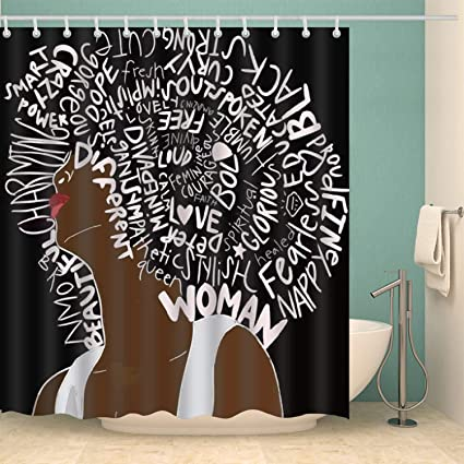 GoJeek Afro Black Girl Shower Curtain African American Women Hair Afrocentric 72quot
