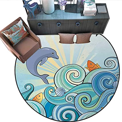 Amazon.com: Sea Animals Circle Rugs Cartoon Dolphin Fish ...