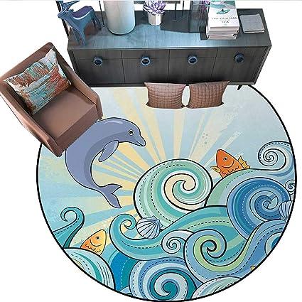 Amazon.com: Sea Animals Circle Rugs Cartoon Dolphin Fish ...