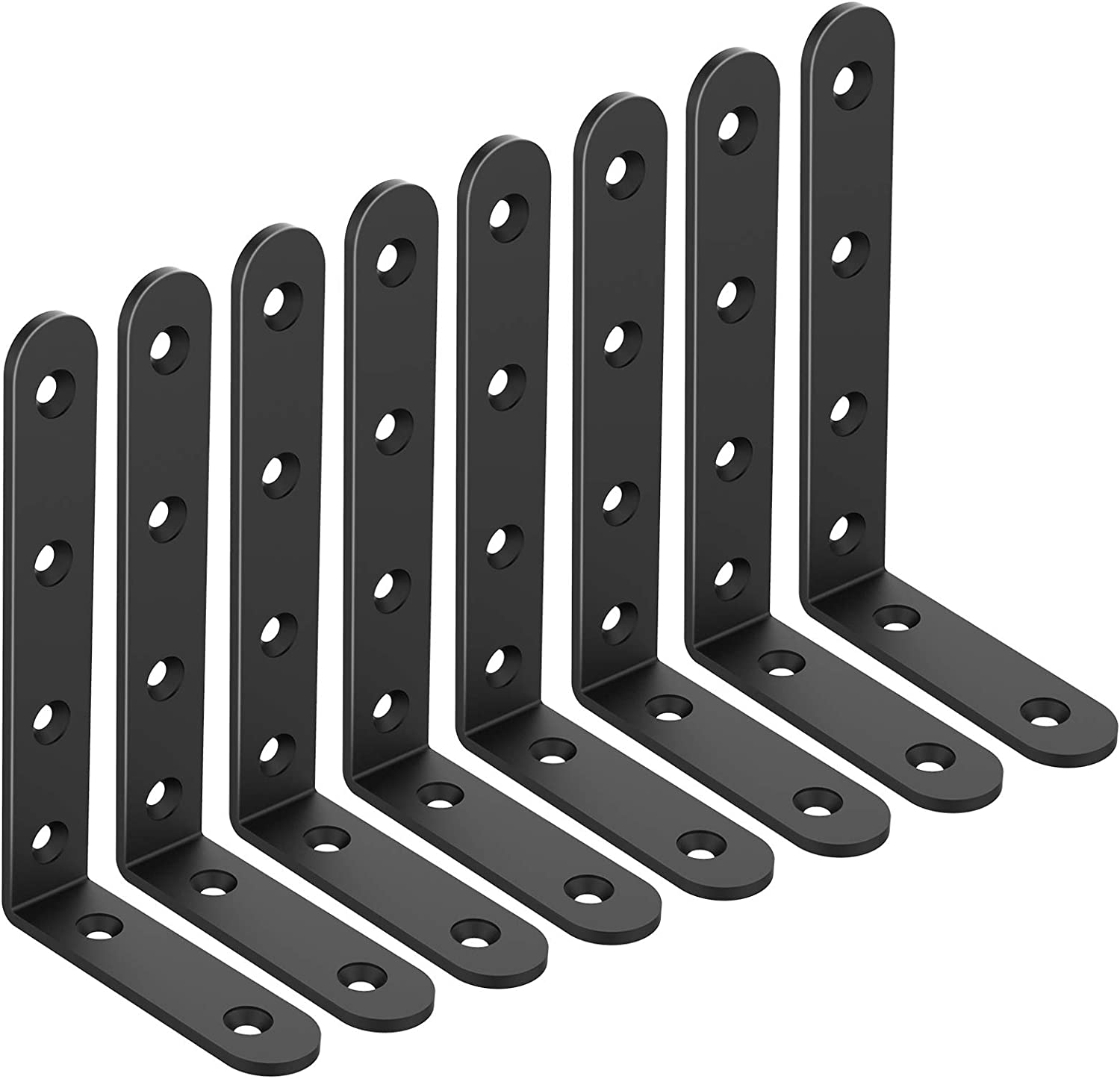 Shelf Brackets Corner Brace Black Steel L Brackets for Shelves Decorative Wall Mount Joint Angle Brackets for Shelf with Screws - 16 Pack (5x3 inch-8 Pcs)