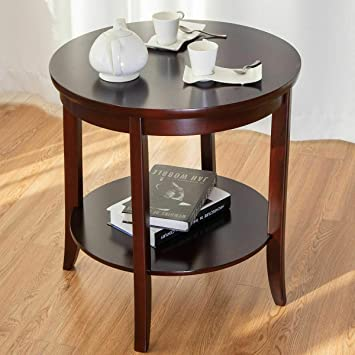 Amazon Com Round Wood End Table Sofa Side Coffee Table Storage