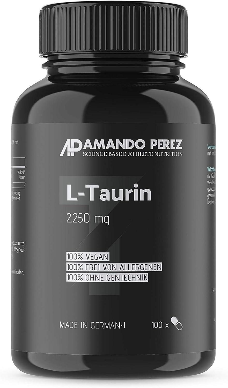 L-taurina - 2250 mg - 100 cápsulas - aminoácido clave - fórmula L-Taurina altamente concentrada