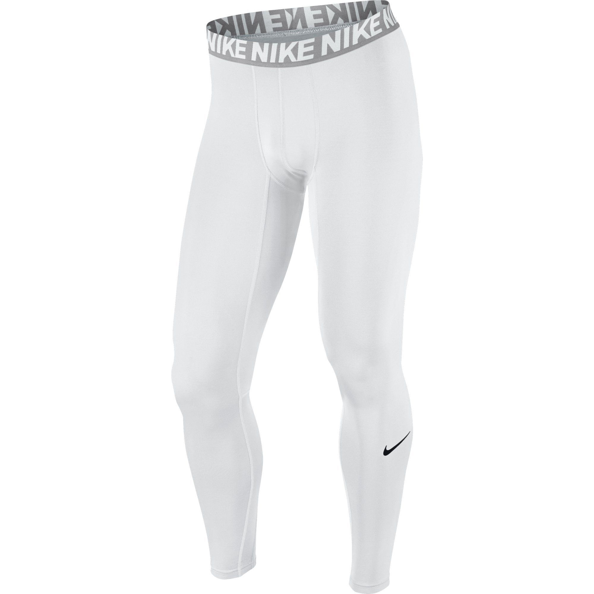 NIKE Men's Base Layer Training Tights, White/Matte Silver/White/Black, Small Tall