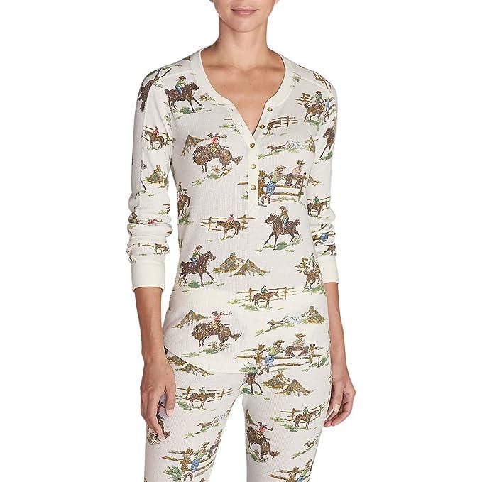 5b9bea2f Eddie Bauer Women's Ilaria Woodsie Henley Shirt, Ivory Regular M ...