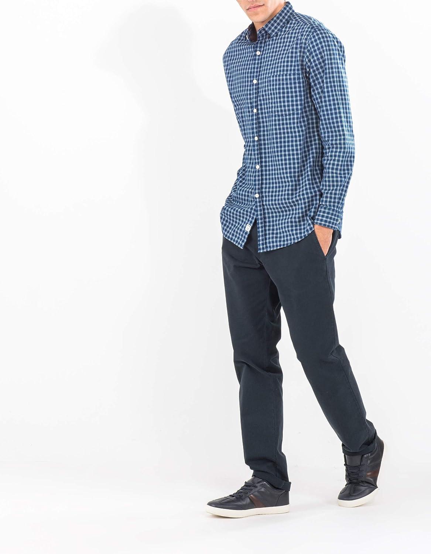 MO Pantalones Hombre - Chinos Slim Fit - En Azul Oscuro y Beige