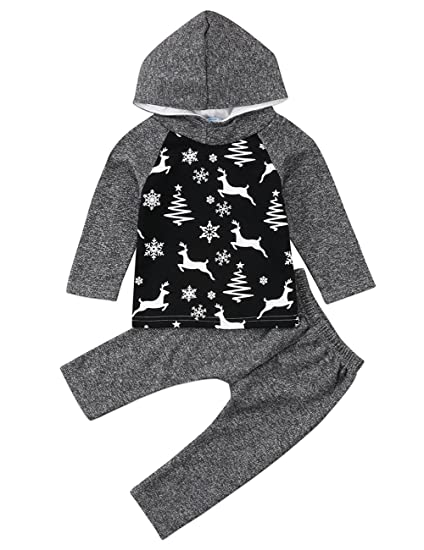f4cf7235 Toddler Infant Baby Boys Dinosaur Deer Long Sleeve Hoodie Tops Sweatsuit  Pants Outfit Set (Grey