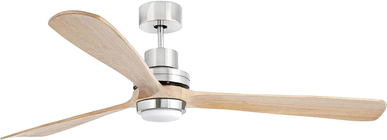 Faro Barcelona 33505- LANTAU-G Ventilador de techo con luz LED, color níquel mate/pino 3 palas