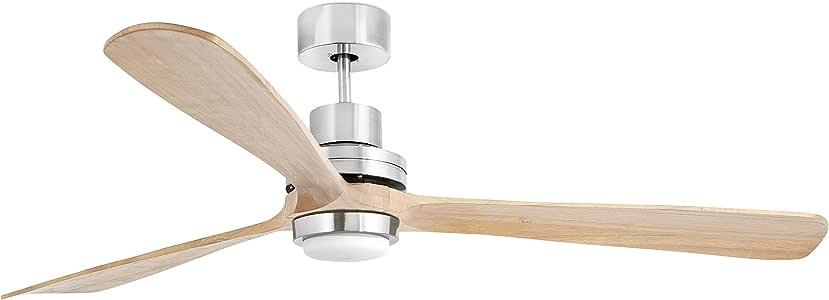 Faro Barcelona 33505 - LANTAU-G Ventilador de techo con luz LED, color níquel mate/pino 3 palas: Amazon.es: Bricolaje y herramientas
