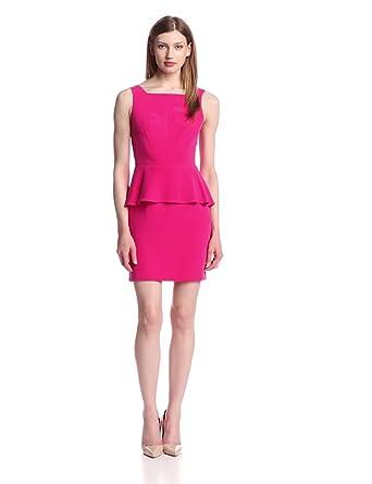 Rebecca Minkoff Women's Stam Solid Silk Cutout Back Sleeveless Peplum Dress, Magenta, 0