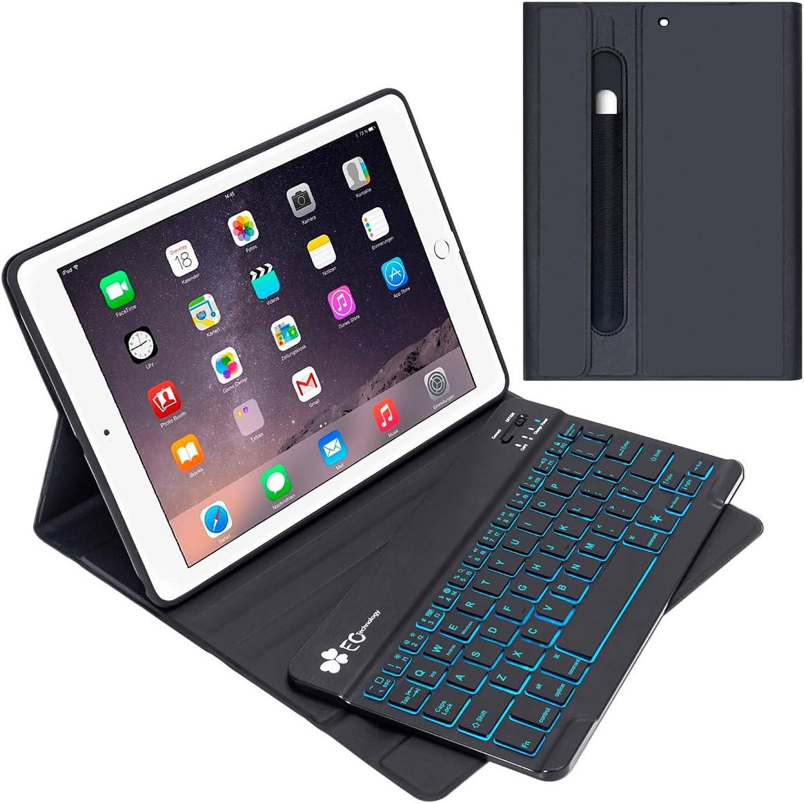 iPad Keyboard Case 9.7 for iPad 2018 (6th Gen) - iPad 2017 (5th Gen) - iPad Pro 9.7 - iPad Air 2 & 1,EC Technology Detachable Wireless/BT - Backlit 7 Color - Magnetic Auto Sleep/Wake