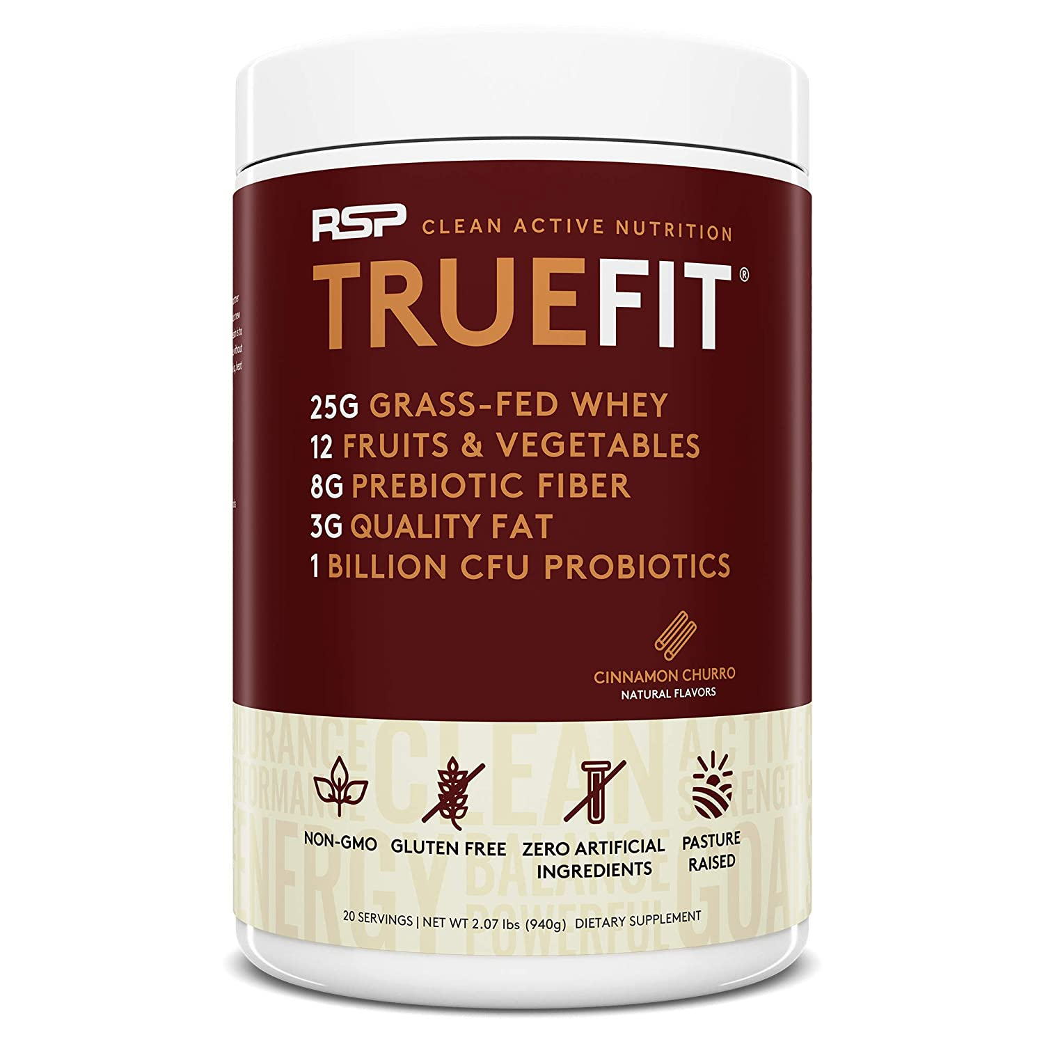 RSP TrueFit – Grass Fed Lean Meal Replacement Protein Shake, All Natural Whey Protein Powder with Fiber Probiotics, Non-GMO, Gluten-Free No Artificial Sweeteners, 2LB Churro Packaging May Vary