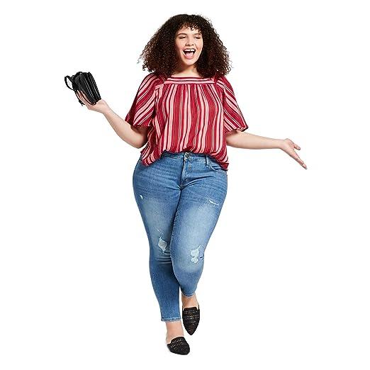 94b40fec7084e Universal Thread Women s Plus Size Destructed Skinny Jeans Light Wash at  Amazon Women s Jeans store