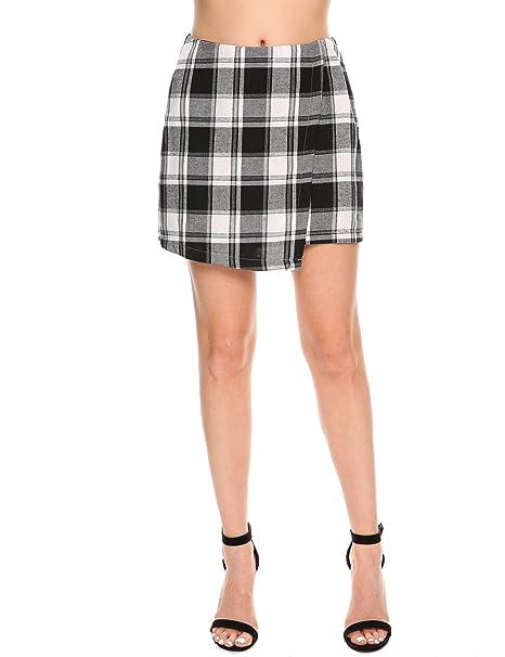 93946b795 Meaneor Women Print Stretchy Plaid Back Zipper Mini Skirts at Amazon ...