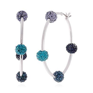 25b545143 Swarovski 1106431 Pop Blue Hoop Pierced Earrings: Amazon.co.uk: Jewellery