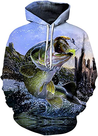 M-3XL Unisex 3D Digital Print Fish Pullover AcisuHu Hoodie 3D Fashion Hooded Sweatshirt for Men Women