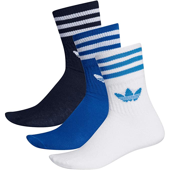 Adidas Mid Cut Crew - Calcetines (3 pares) Navy/Royal/White 39-42 ...