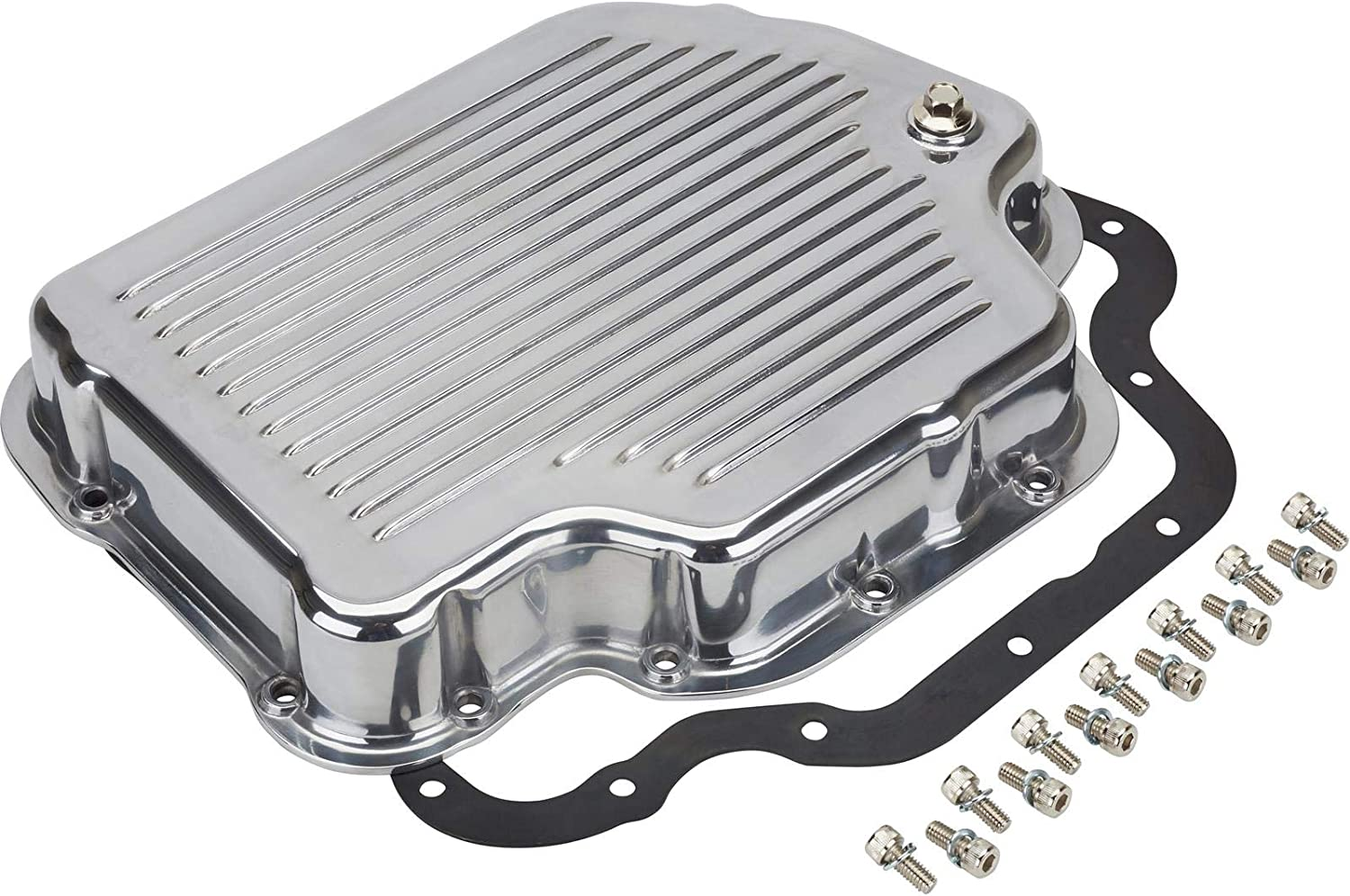 Fits Chevy GM Turbo 400 TH400 Aluminum Transmission Pan Kit Deep Finned Polished