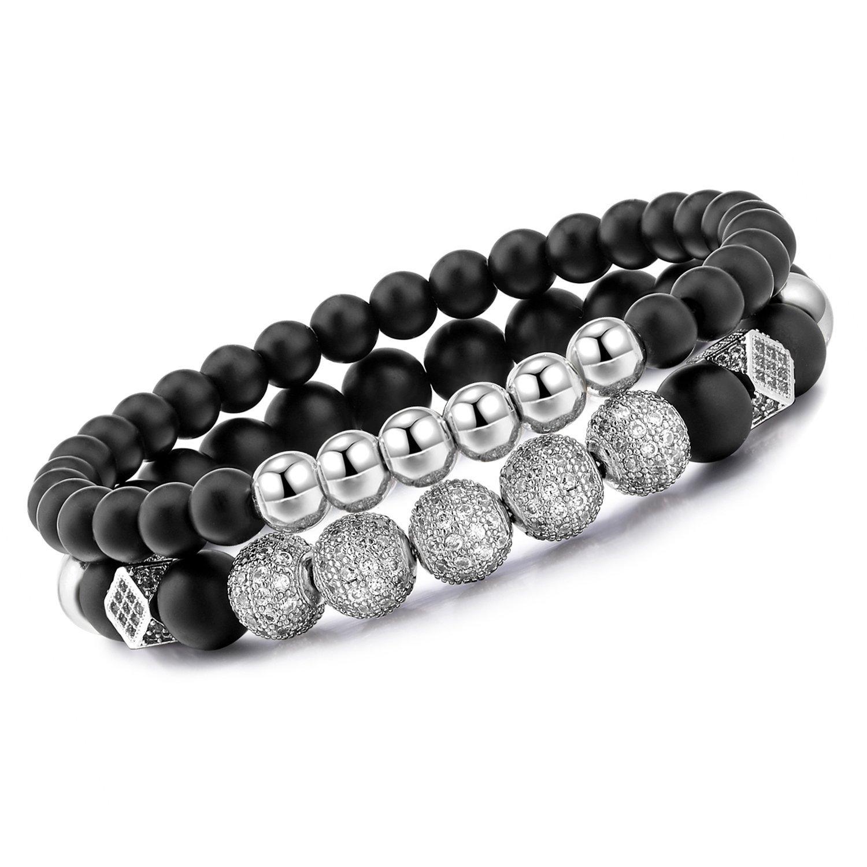 Meangel 8mm Charm Beads Bracelet for Men Women Black Matte Onyx Natural Stone Beads, 7.5''