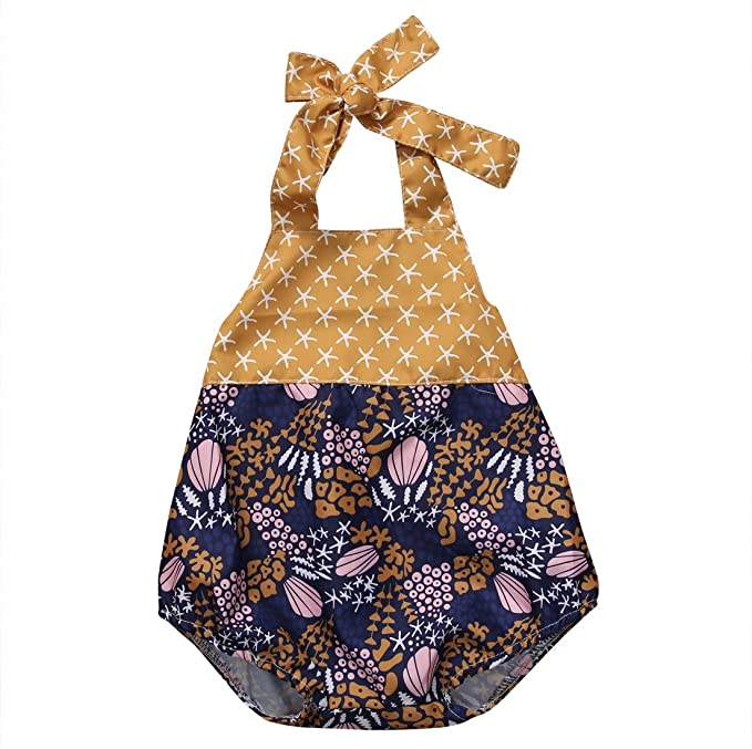 9041a896e06 Baby Girl Sea Topic Starfish Shell Seaweed Pattern Summer Backless Halter  Romper (0-3