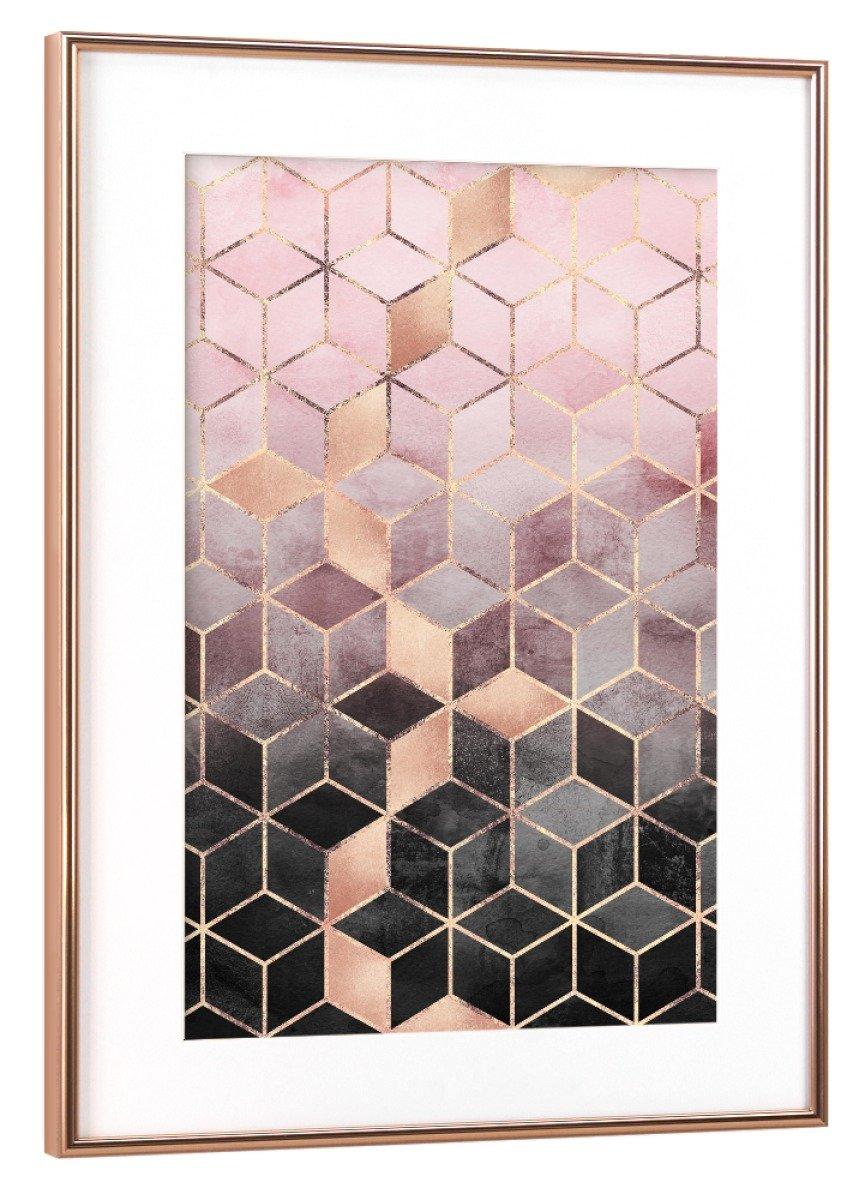 ArtboxONE Poster mit Rahmen Kupfer 60x40 cm Pink Grau Gradient Cubes von Elisabeth FROTeriksson - gerahmtes Poster