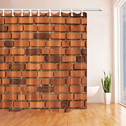 SZZWY Vector Red Brick Wall Shower Curtains Polyester Fabric Waterproof Bath Curtain 69X70 In