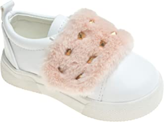 f56354d8ce2 AnnaKastle Womens Soft Puffy Faux Fur Strap Stud Slip Ons Sneaker