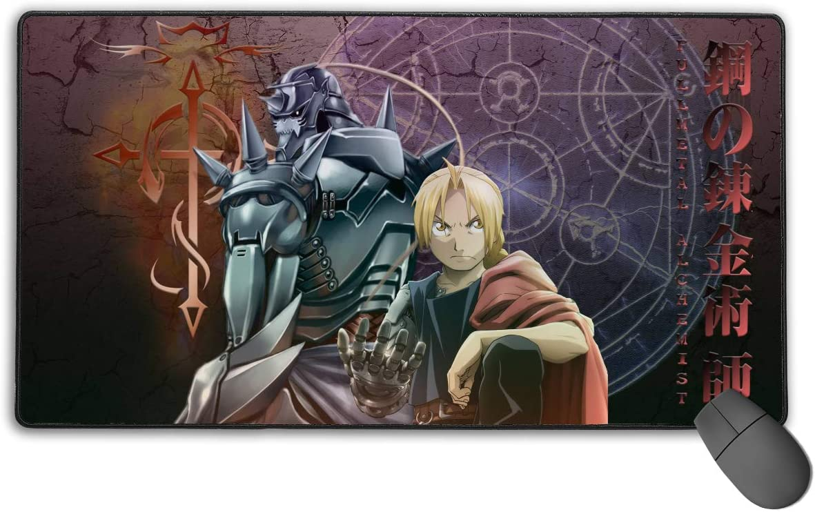 Fullmetal Alchemist Japanese Animation Large Gaming Mouse Pad XXL Extended Mat Desk Pad Mousepad Long Non-Slip Rubber Mice Pads Stitched Edges 29.5x15.7