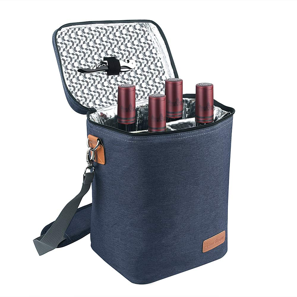 Insulated Wine Carrier Tote - Samshow 4 Bottle Wine Carrier with Shoulder Strap, Padded Protection, and Corkscrew for Travel, Camping and Picnic, Perfect Wine Lover (dark blue) by Samshow