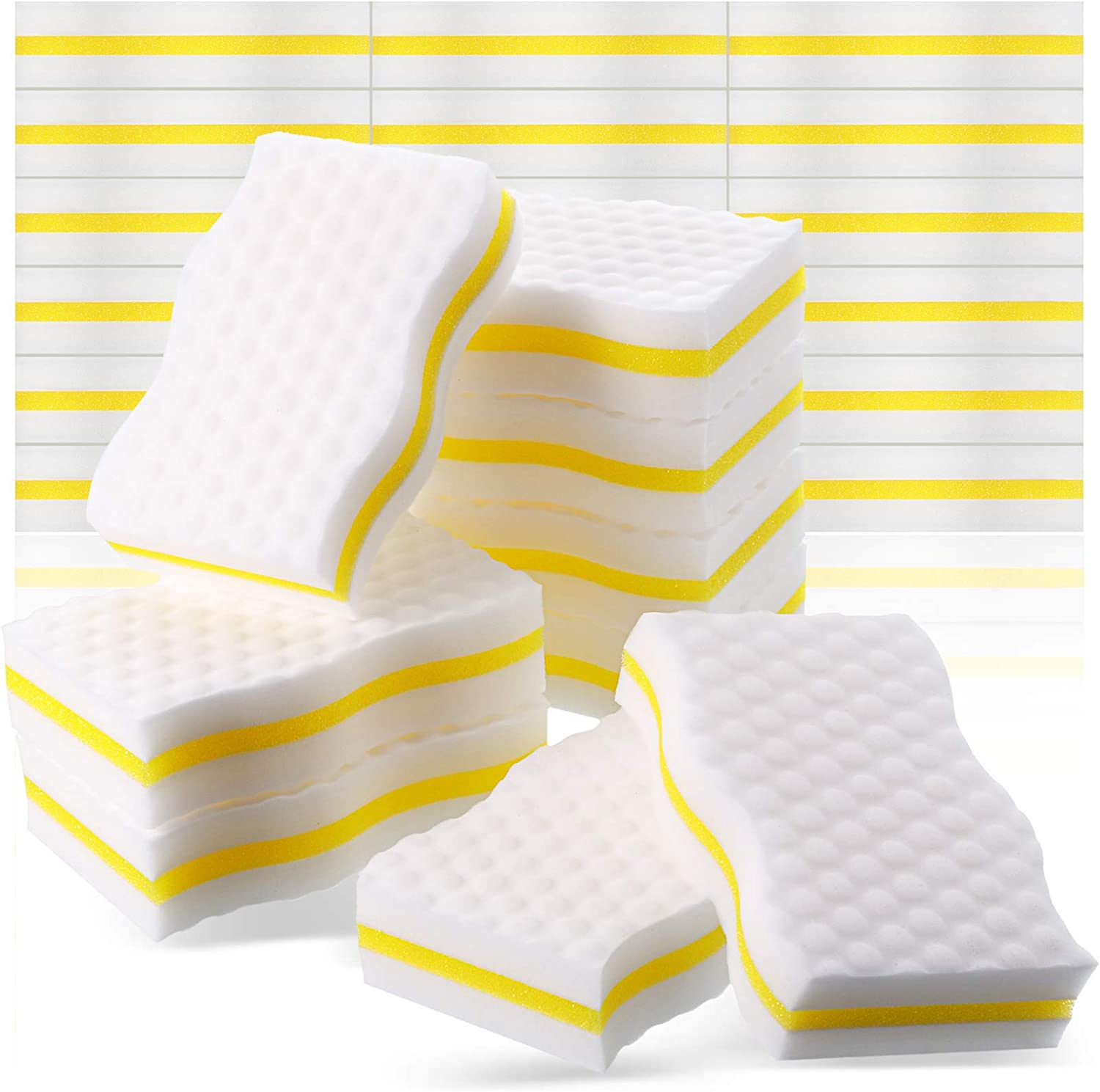 25 Pieces Boat Scuff Sponge Boat Scuff Eraser Boat Magic Cleaning Eraser Accessories for Cleaning Black Streak Deck Marks Scuffs (White and Yellow)