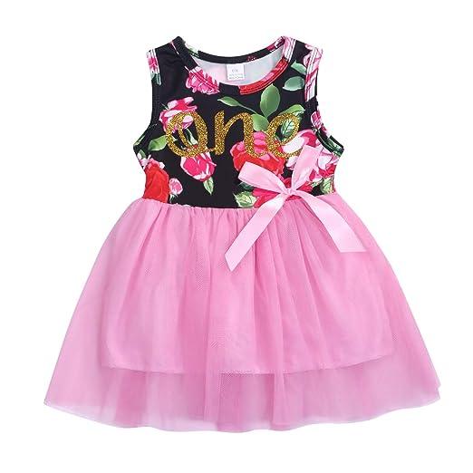 7e2eff5cf486 Amazon.com  Baby Girls Clothes 1st Birthday Tutu Dress Sleeveless ...