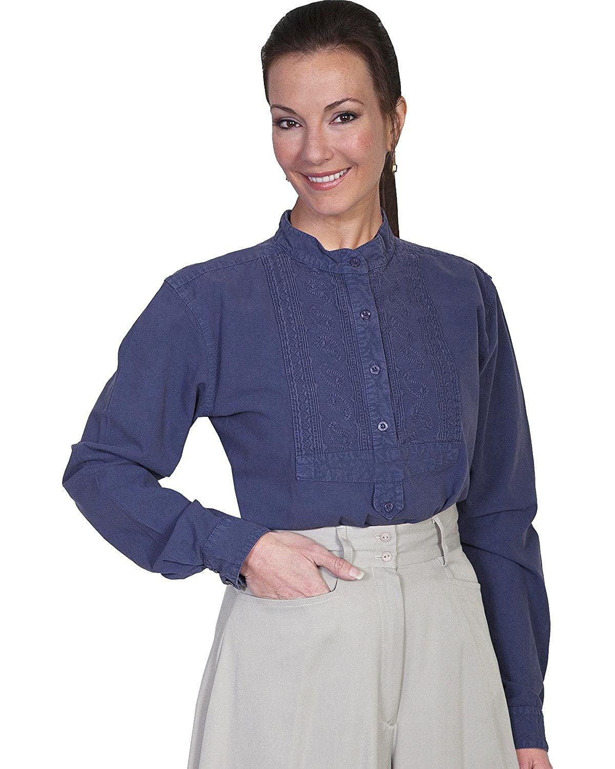 Victorian Blouses, Tops, Shirts, Sweaters Scully Womens RW577 Paisley Bib Front Blouse $62.41 AT vintagedancer.com