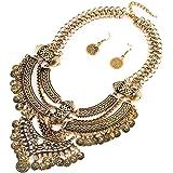 Damen Vintage Boho Troddel Münzen Schmuck Set Halsband Opulente Halskette + Earring Gold