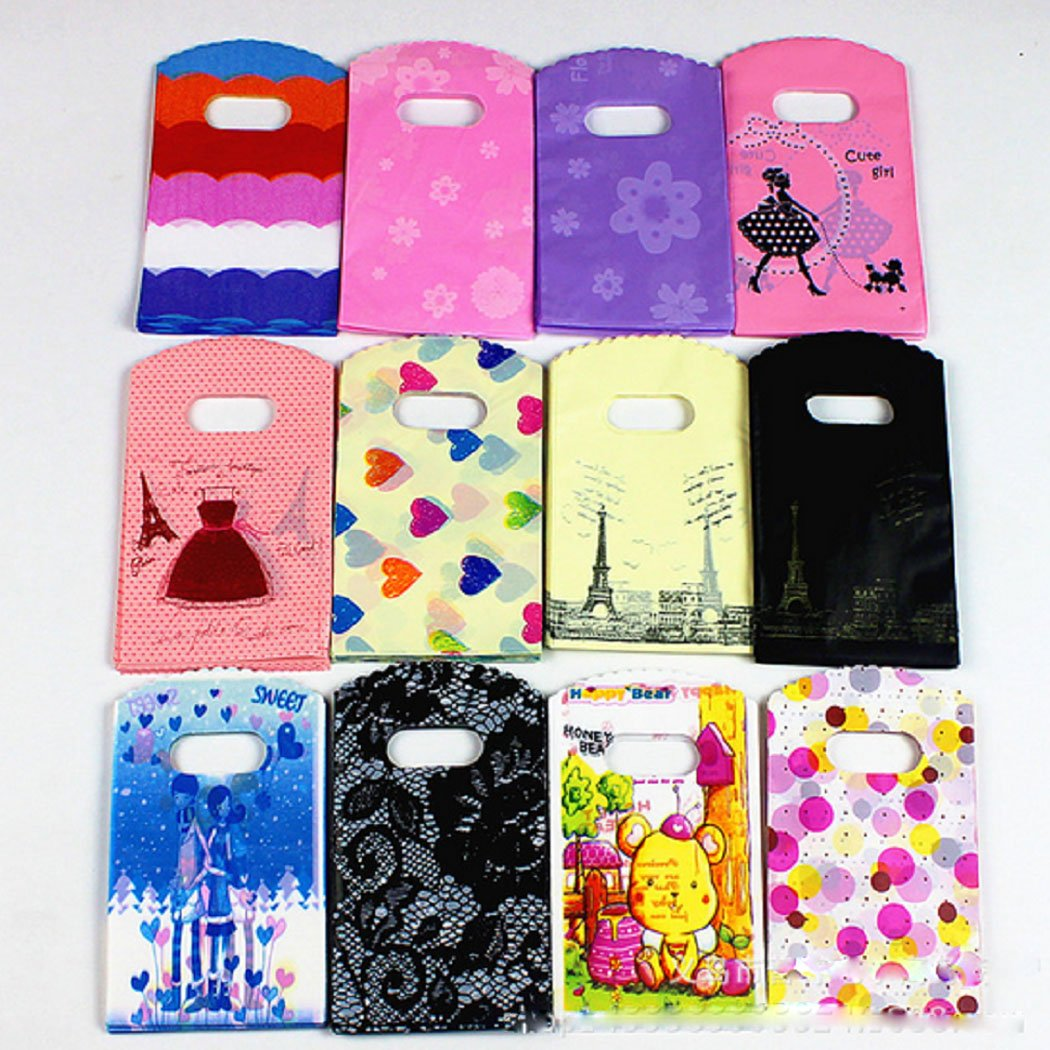 100 Pcs Glossy Plastic Small Merchandise Bags Jewelry Accessories Boutique Bags with Handles,Purple and Pink,3.5x 5.9 3.5x 5.9 Mishiner