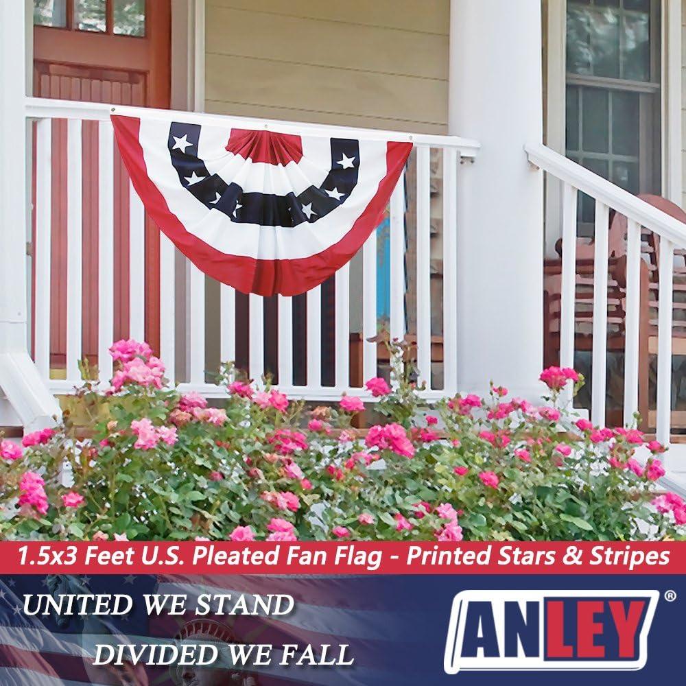 Color Intenso y Resistente A LA DECOLORACI/ÓN Bandera de Abanico Plisada de EE Anley UU 45x90 cm Banderas de Abanico de Estados Unidos Patri/ótica Barras y Estrellas