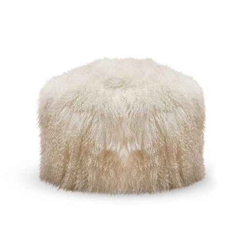 SARO LIFESTYLE Real Mongolian 100 Wool Lamb Fur Pouf Ottoman, 18 x 18 , Ivory