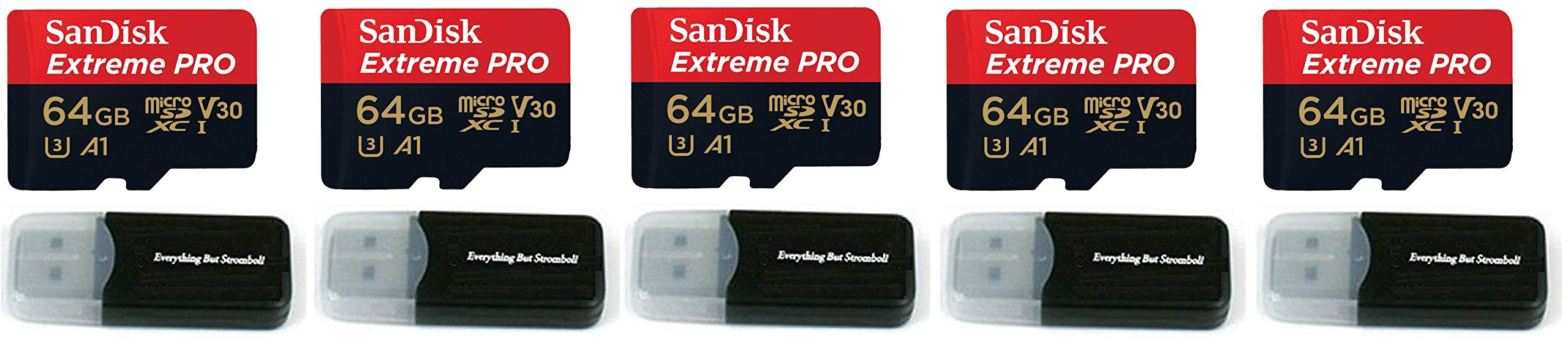 64GB Sandisk Extreme Pro 4K Memory Card for Gopro Hero 6, Fusion, Hero 5, Karma Drone, Hero 4, Session, Hero 3, 3+, Hero + Black - UHS-1 V30 64G Micro SDXC (5-(Pack))