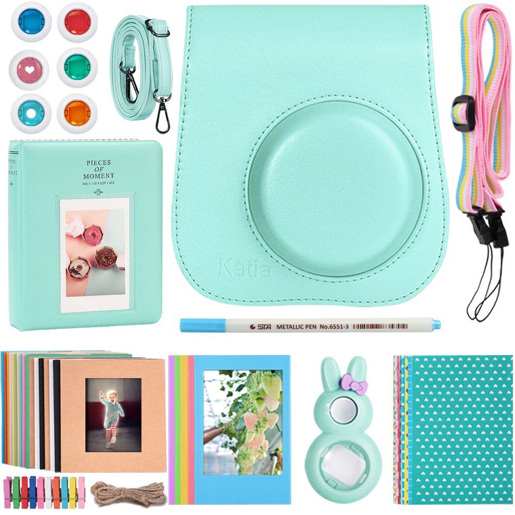 Katia Instant Film Camera Accessories Bundle for Fujifilm Instax Mini 9 Instant Camera, with Groovy ICE BLUE Camera Case, Album, Selfie Lens, Stickers, Frames, Filters, Pen by Katia