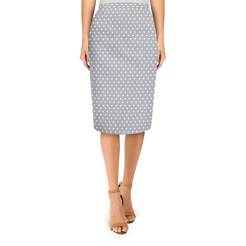 Mini Hearts on Grey Midi Pencil Skirt