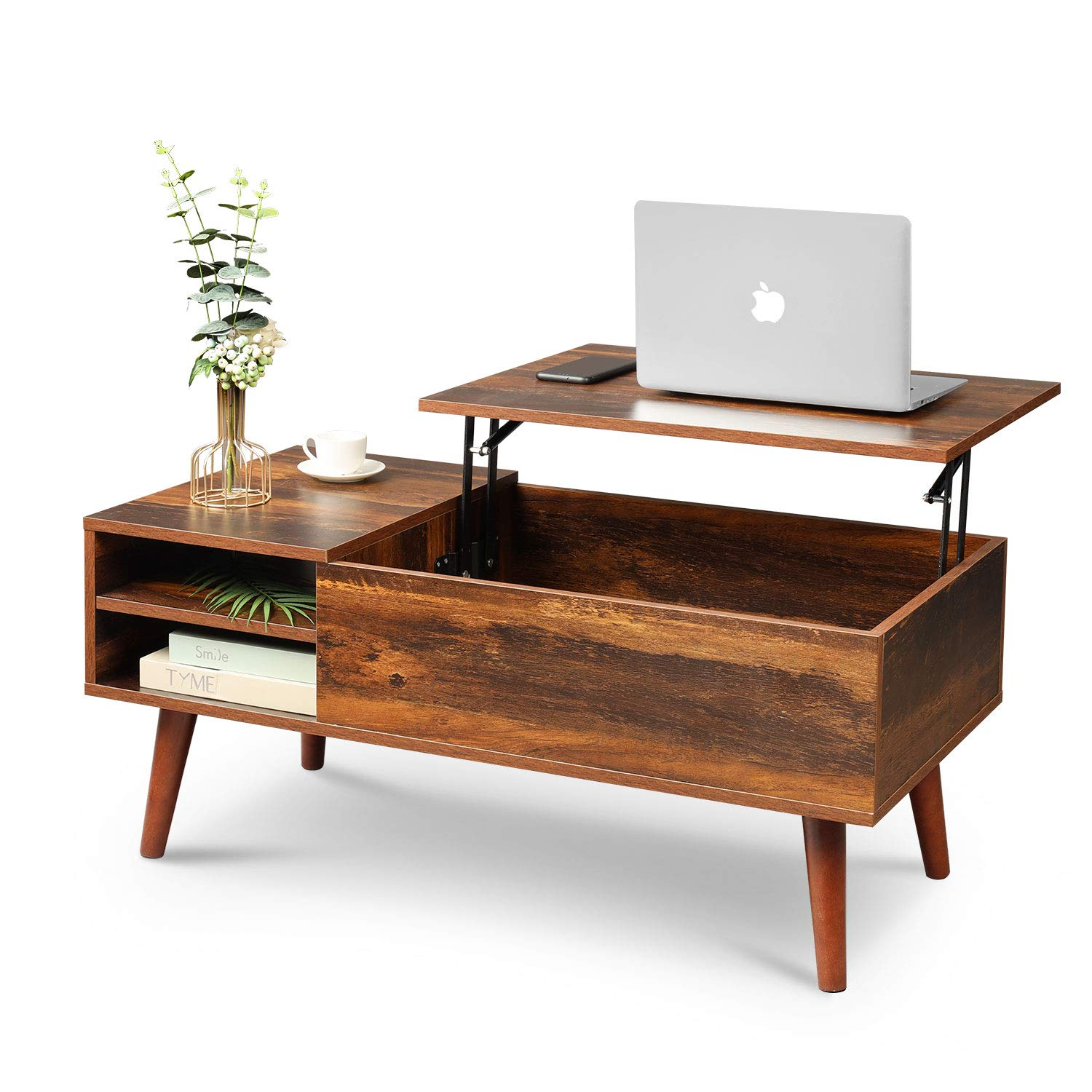 Wlive Wood Lift Top Coffee Table With Hidden Compartment And Adjustable Storage Shelf Lift Tabletop Dining Table For Home Living Room Office Rustic Oak Buy Online In Grenada At Grenada Desertcart Com Productid