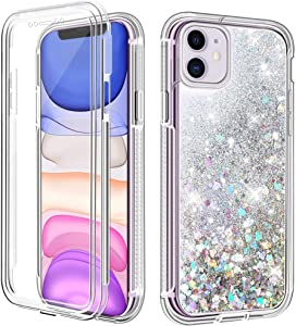 """LOEV iPhone 11 Case with Built-in Screen Protector, Sparkly Flowing Liquid Glitter Quicksand Full Body Protective Case Women Shockproof Anti-Scratch TPU Bumper Cover for iPhone 11 6.1"""", Silver"""