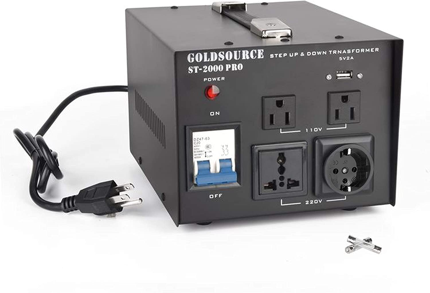 Universal Schuko AC Outlets /& DC 5V USB Port by Goldsource 1000W Auto Step Up /& Step Down Voltage Transformer Converter ST-Pro Series Heavy-Duty AC 110//220V Converter with US Standard