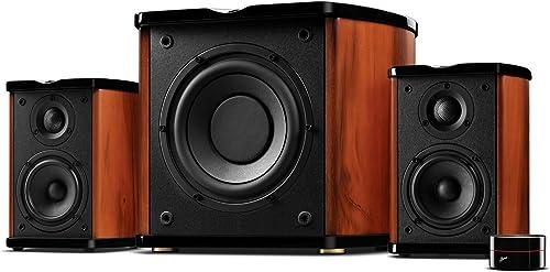 Swan Speakers – M50W – Powered 2.1 Bookshelf Speakers – HiFi Music Listening System – Wooden cabinet – Full Range Drivers – 6.5 Subwoofer – Desktop Near-field Use – 100W RMS