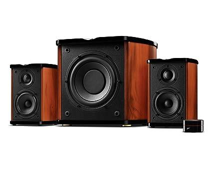 Swan Speakers   M50W   Powered 2.1 Bookshelf Speakers   HiFi Music  Listening System   Wooden