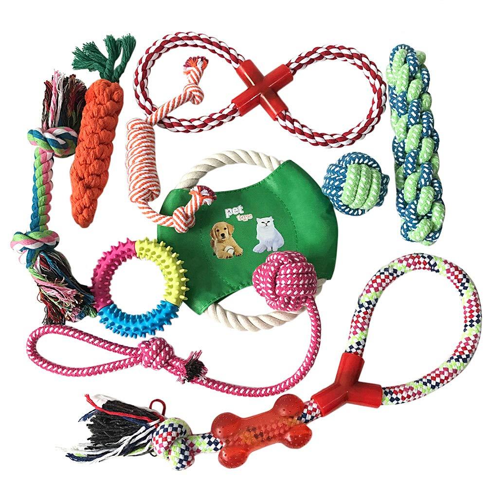 Hegu Dog Rope Toys 10 Pack Set Pet Puppy Teething Chew Rope Tug Assortment Small Medium Large Dogs Durable Bone Rope