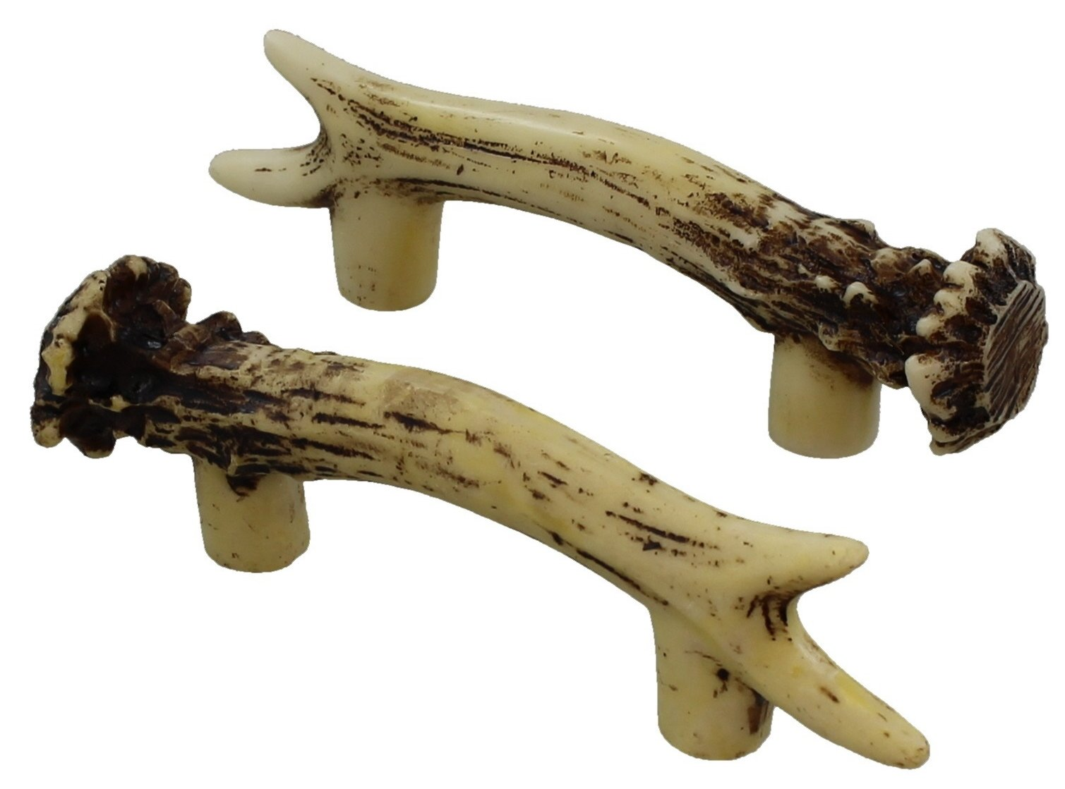 Heavy Duty 3'' Antler Pull/Cabinet/Drawer Knobs (2 Pack) - 2 Sizes of Screws and Washers Included