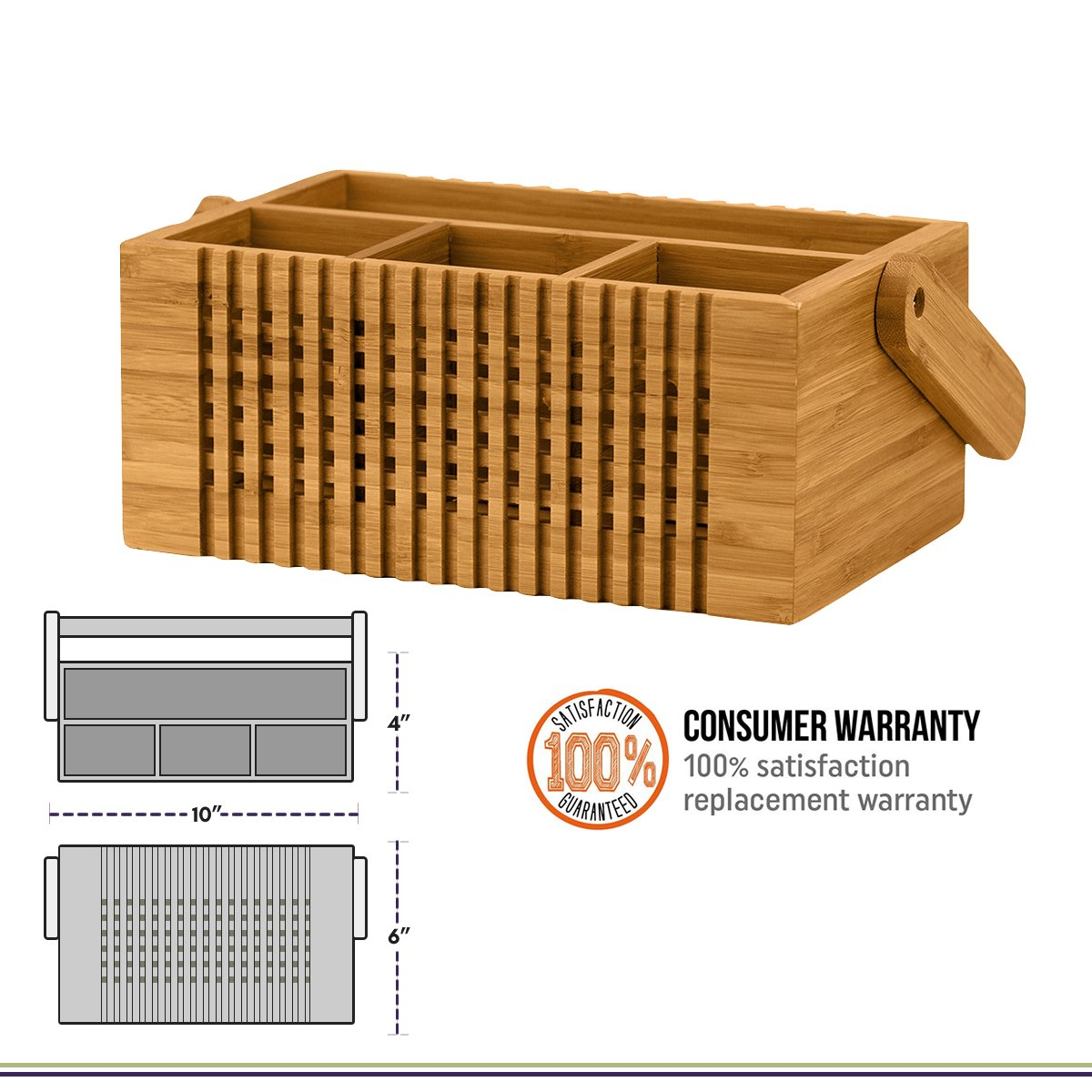 Totally Bamboo Lattice Flatware Caddy with Handle by Totally Bamboo (Image #3)