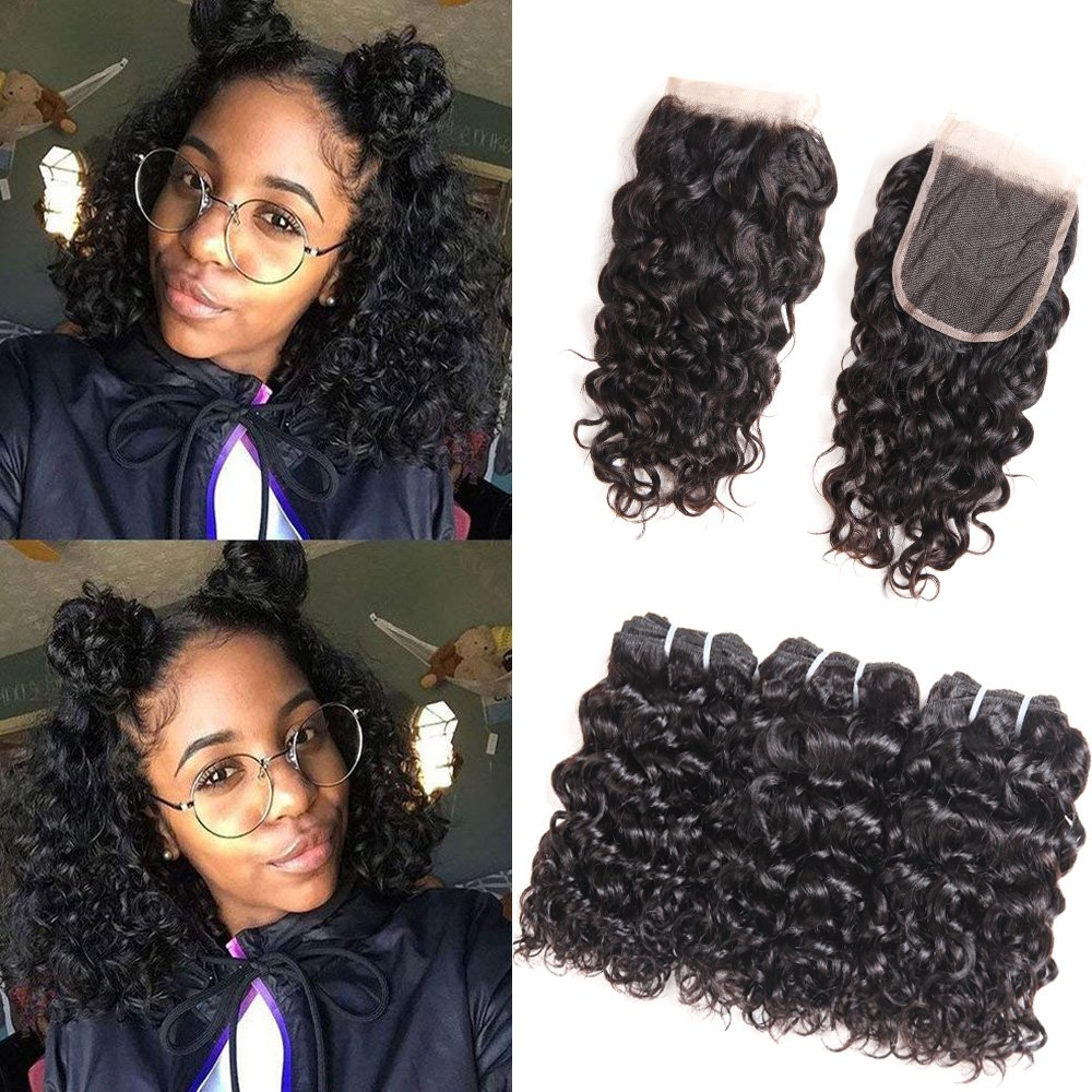 3/4 Bundles With Closure Strict 3 Bundles Malaysian Loose Wave With Pre Plucked Closure With Baby Hair Bouncy Curl No Shedding No Tangle Non Remy Black 1b