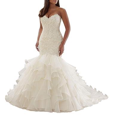 8127740e9225 Wanshaqin Women's Mermaid Sweetheart Strapless Beaded Wedding Dress for Brides  Organza Ruffled Bridal Gowns Plus Size